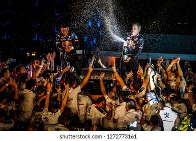Dakar Rally 2018. Peru, Bolivia, Argentina. From Lima to Cordoba. 6/20 Jenuary 2018. Carlos Sainz and Lucas Cruz, Peugeot, winner of Dakar rally 2018, celebrate on the podium.