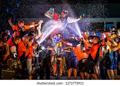 Dakar Rally 2018. Peru, Bolivia, Argentina. From Lima to Cordoba. 6/20 Jenuary 2018. Matthias Walkner, KTM, winner of Dakar Rally 2018, in motorbikes category. Celebrating on the podium.