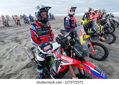Dakar Rally 2018. Peru, Bolivia, Argentina. From Lima to Cordoba. 6/20 Jenuary 2018. Kevin Benavides, Argentina, Honda, second overall in motorbike category.