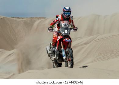 Dakar Rally 2018. Peru, Bolivia, Argentina. From Lima to Cordoba. 6/20 Jenuary 2018. Ignacio Cornejo, Chile, Honda.