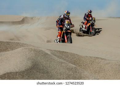 Dakar Rally 2018. Peru, Bolivia, Argentina. From Lima to Cordoba. 6/20 Jenuary 2018. Antoine Meo and Toby Price, KTM.