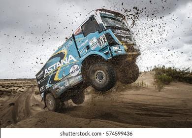 Dakar Rally in Paraguay, Bolivia, Argentina. 2/14 Jenuary 2017. Artur Ardavichus, MAN, jump the dune.