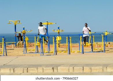 DAKAR, SENEGAL - APR 23, 2017: Unidentified Senegalese people do physical exercises on the beach in Dakar, the capital and main city of Senegal