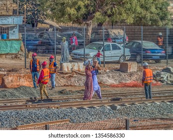 Dakar, Senegal - Feb 02, 2019: Construction of new railway tracks between the city of Dakar and the airport.