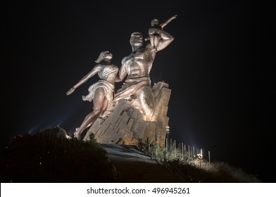 DAKAR, SENEGAL - JUNE 01, 2014: Monument to African renaissance, in the volcanic hill of Mamelles, with night lighting