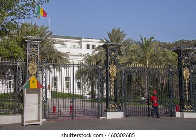 DAKAR, SENEGAL - MAY 27, 2014: Main entrance to the presidential palace with a guard