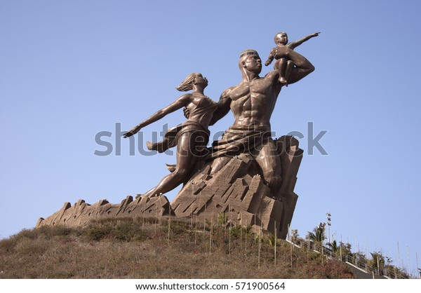 DAKAR, SENEGAL - MAY 27, 2014: Sculpture that reflects the family unit, in the monument of the African Renaissance, to the outskirts of the urban center of the city