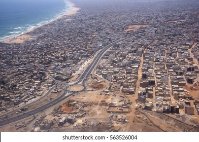 DAKAR, SENEGAL - MAY 28, 2014: Aerial photography of the city districts, near the coast of Yoff