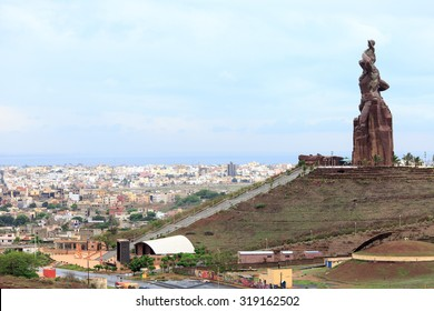 DAKAR-AUG 05:African Renaissance Monument on August 05,2015 in Dakar, Senegal.Le Monument de la Renaissance Africaine) is a 49 meter tall bronze statue located on top of the hill Collines des Mamelles