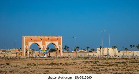 DAKHLA, MOROCCO, JAN 12, 2019: entrance door of Dakhla, a city of Western Sahara, Morocco