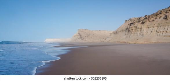 Dakhla, Western Sahara region of Morocco, with sand cliffs and Atlantic