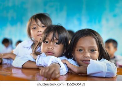 Daknen commune, KonPlong District, Kontum/ Vietnam, September 26, 2015: Volunteering activities including gifts, health checkup, and counseling on personal hygiene for children.