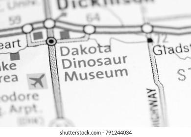 Dakota Dinosaur Museum. North Dakota. USA on a map.
