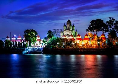 Dakshineswar kali Temple at night kolkata, India