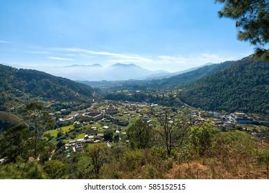 Dakshinkali valley with many buddhist monasteries in Nepal