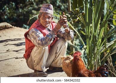 DAKSHINKALI/NEPAL - NOVEMBER 14, 2016: Portrait of a nepalese aged man with traditional dhaka topi hat squatting on the ground
