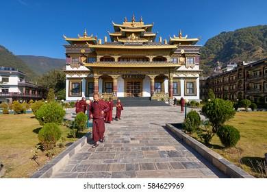 DAKSHINKALI/NEPAL - NOVEMBER 14, 2016: Young monks in the modern tibetan monastery in Dakshinkali