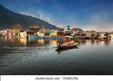 Dal Lake, City of water at Kashmir.Transportation of Dal Lake in the morning. (Kashmir, India)