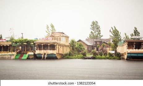 Dal Lake Jammu Kashmir, India May 2018 - Dal lake called Srinagar's Jewel for tourism recreation center. It is a wetland floating Mughal gardens divide four basins Gagribal, Lokut Dal, Bod Dal, Nigeen