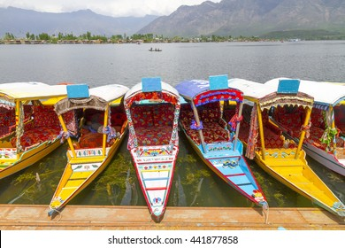 DAL LAKE KASHMIR - A row of colorful Shikara, the Kashmiri gondolas that transport guests to the houseboats.