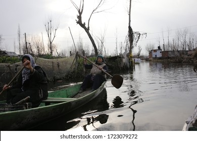 Dal Lake, Srinagar, India - March 18,2019: in and around Dal Lake. People living in and around scenic Dal lake Srinagar live a defferent lifestyle.