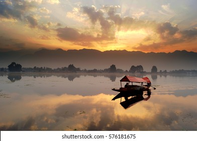 Dal Lake Sunset landscape, Kashmir, India