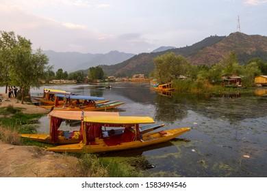 Dal Lake,Srinagar,Kashmir,India-July 01,2016:Tourist boats parked on the banks of Dal lake, Srinagar, Kashmir,India