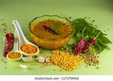 Dal sambhar or Dal sambaar South Indian sambar with spices and ingredients