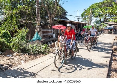 DALA, MYANMAR - FEBRUARY 28: Pedicabs sight seeing city tour for traveller at Dala Township, It's located on the southern bank of Yangon river and still largely rural and undeveloped on Feb 28, 2015