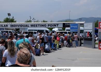 Dalaman, Turkey - 06.20.2018: Meeting tourists at the airport travel companies