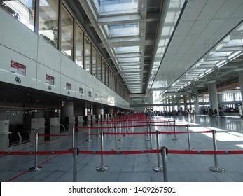 Dalaman - Turkey - May 2019 – Interior Of The New Terminal of Dalaman Airport. Terminal 2, Opened in 2018