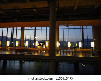 DALAMAN, TURKEY - MAY 7 2014: Dalaman International Airport hall at night