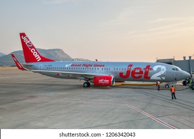 "Dalaman, Turkey- Oct 16, 2018: Airplane Boeing 737 ""Jet2"" in airport Mugla Dalaman"