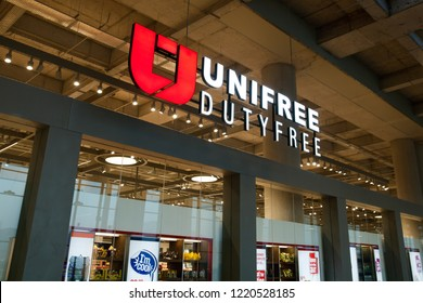 "Dalaman, Turkey- Oct 16, 2018: duty free shop ""Unifree"" in airport Mugla Dalaman"