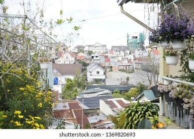 Dalat city/ Vietnam - 03 Jan, 2019: Unknown houses looked from a hill in Dalat City. It is a highland city where found by Alexandre Yersin, is credited for discovering Dalat. You must hike long way