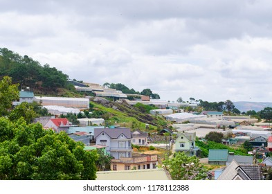 Dalat city, Vietnam, View of many houses from hill, The architecture of Dalat, Cityscape, Panorama landscape. a Lat (Dalat) is famous for its wide variety of flowers, vegetables and fruit.