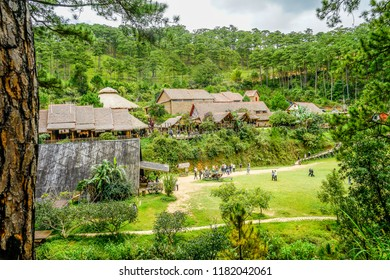 DALAT / VIETNAM - 02 SEPTEMBER, 2018: Cu Lan village at Dalat countryside, hotel and holiday resort among pine jungle, camp on grass field, an eco tourism in nature reserse.