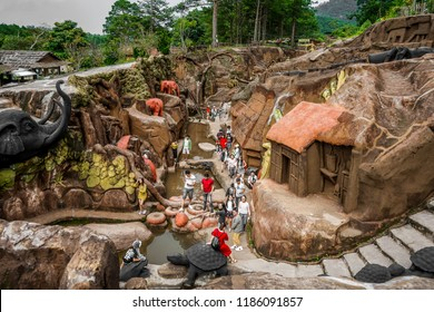 DALAT / VIETNAM - 02 SEPTEMBER, 2018: Amazing destination for Vietnam tourism, work of art know as sculpture tunnel from clay