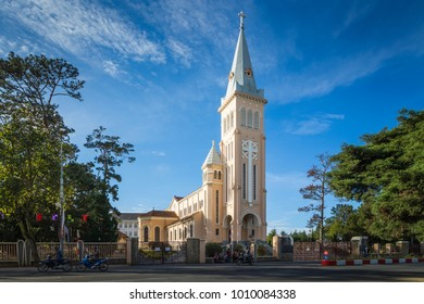 Dalat, Vietnam - 2018: Chicken Church or Dalat Cathedral is located on Tran Phu Street in Dalat.