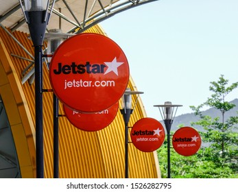 Dalat, Vietnam - Apr 20, 2018. Jetstar logos at Lien Khuong Airport in Dalat, Vietnam. Dalat is located in the South Central Highlands of Vietnam.