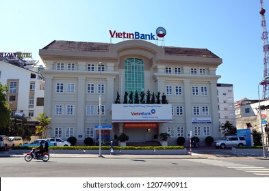 DALAT, VIETNAM - APRIL 12, 2015 - Building of Vietin Bank in Dalat, Vietnam. Dalat is also called Little Paris of Vietnam