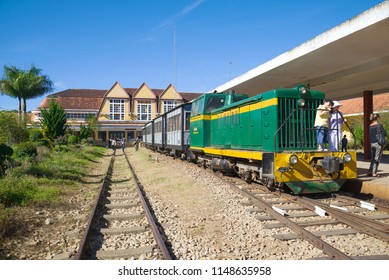DALAT, VIETNAM - DECEMBER 27, 2015: Tourist retro train at the railway station