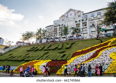 Dalat, Vietnam - December 30, 2015 : Dalat city sightseeing, People enjoyed with selfie and photography with flower surround the Dalat city on Happy New Year and Dalat Flower Festival.