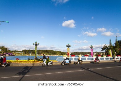 Dalat, Vietnam - December 30, 2015 : Dalat's street decolated by many flowers for Happy New Year and Dalat Flower Festival