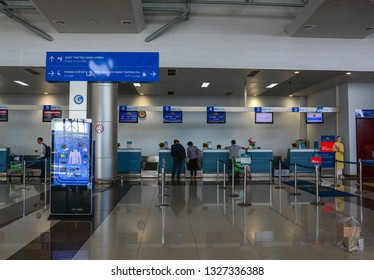 Dalat, Vietnam - Jan 25, 2016. Interior of Lien Khuong Airport in Dalat, Vietnam. Dalat is located in the South Central Highlands of Vietnam.