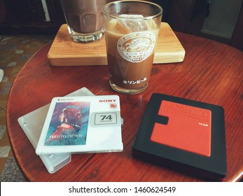 Dalat, Vietnam- Jul 2019:  a vintage Kenwood md player and a Sony minidisc. MD players are coming back as a new trend for the youth in many countries.