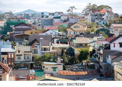 Dalat, Vietnam - Mar 01, 2018. View on  roofs in the city of Dalat. The architecture of Dalat is dominated by the style of the French colonial period