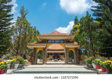 Dalat, Vietnam - Mar 07 2019- Truc Lam Zen Monastery. a famous Historical site in Dalat, Vietnam.