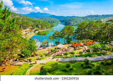 DALAT, VIETNAM - MARCH 13, 2018: The Valley of Love park or Thung Lung Tinh Yeu in Dalat city in Vietnam