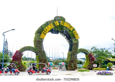 Dalat , Vietnam- Nov 05,2017 : Arched Entrance of Flower park decorated by colorful flowers